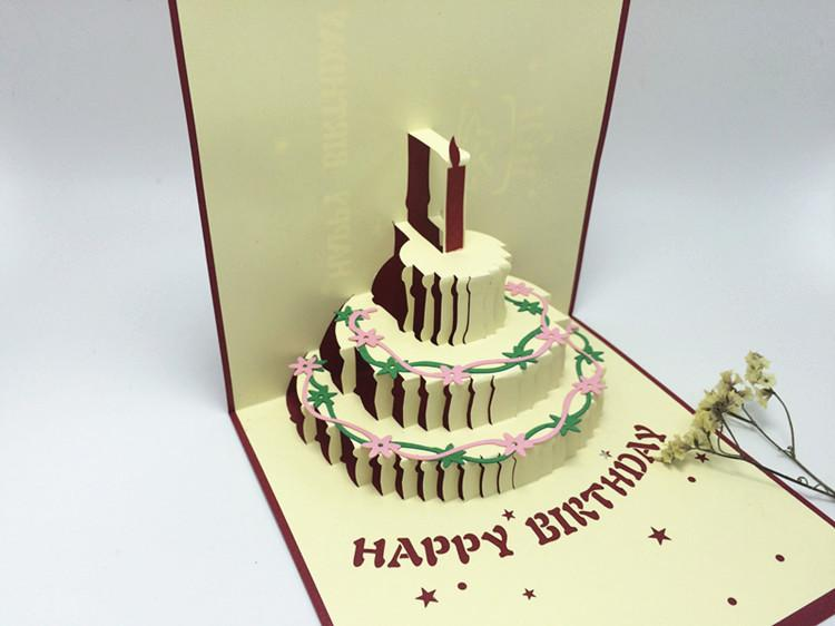 Creative Birthday Present 3 D Birthday Cake Card Men And Women