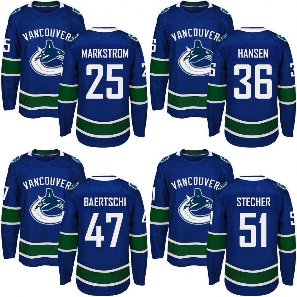 2019 Customized Mens 2017 2018 Vancouver Canucks 25 Jacob Markstrom 36  Jannik Hansen 47 Sven Baertschi 51 Troy Stecher Hockey Jerseys From Jersey  Shop 23 27a8247d0