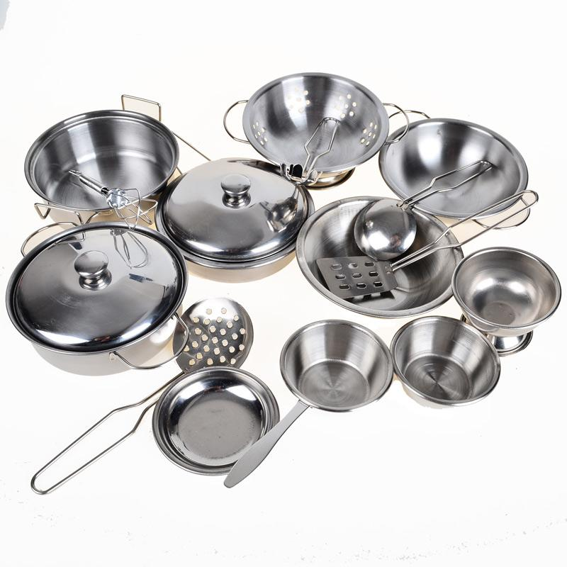 Phenomenal Wholesale Stainless Steel Pots And Pans Pretend Play Toy Kitchen Set For Kids 16Pcs Cookware Miniature Toys For Children Home Interior And Landscaping Staixmapetitesourisinfo