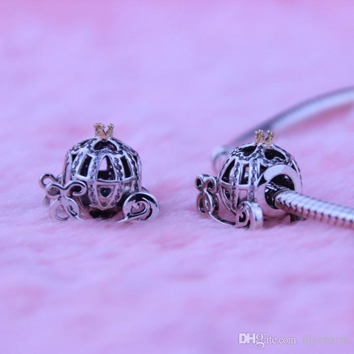 Pandora'nın bilezik Külkedisi Kabak Gümüş Boncuklar Yeni Orjinal 925 Gümüş Charms altın için Gevşek boncuk Uyumlar Toptan DIY kaplama