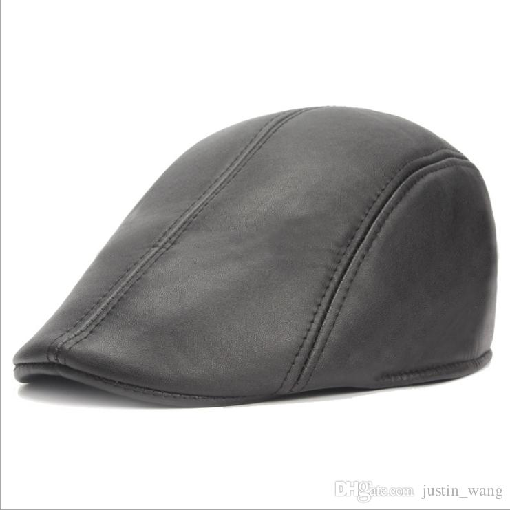 2019 New Trendy Autumn Winter Leather Berets Caps For Men Casual ... 24ad98b82df
