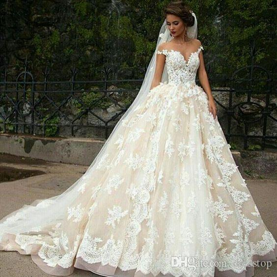 f1a321b18f0 ... 2017 Lace 3D Appliqued Wedding Dresses A Line Off Shoulder Bridal Gowns  Sweep Train Sheer Jewel Neck Backless Wedding Dress Wedding Dresses Under  500 ...