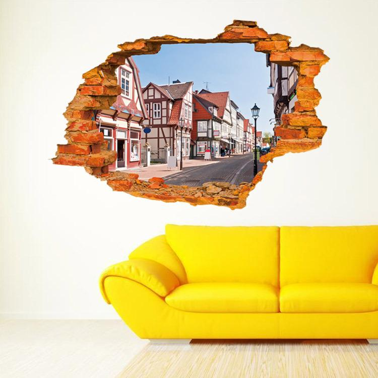 3d Realistic Street View Stickers Bedroom Living Room Poster Kids ...