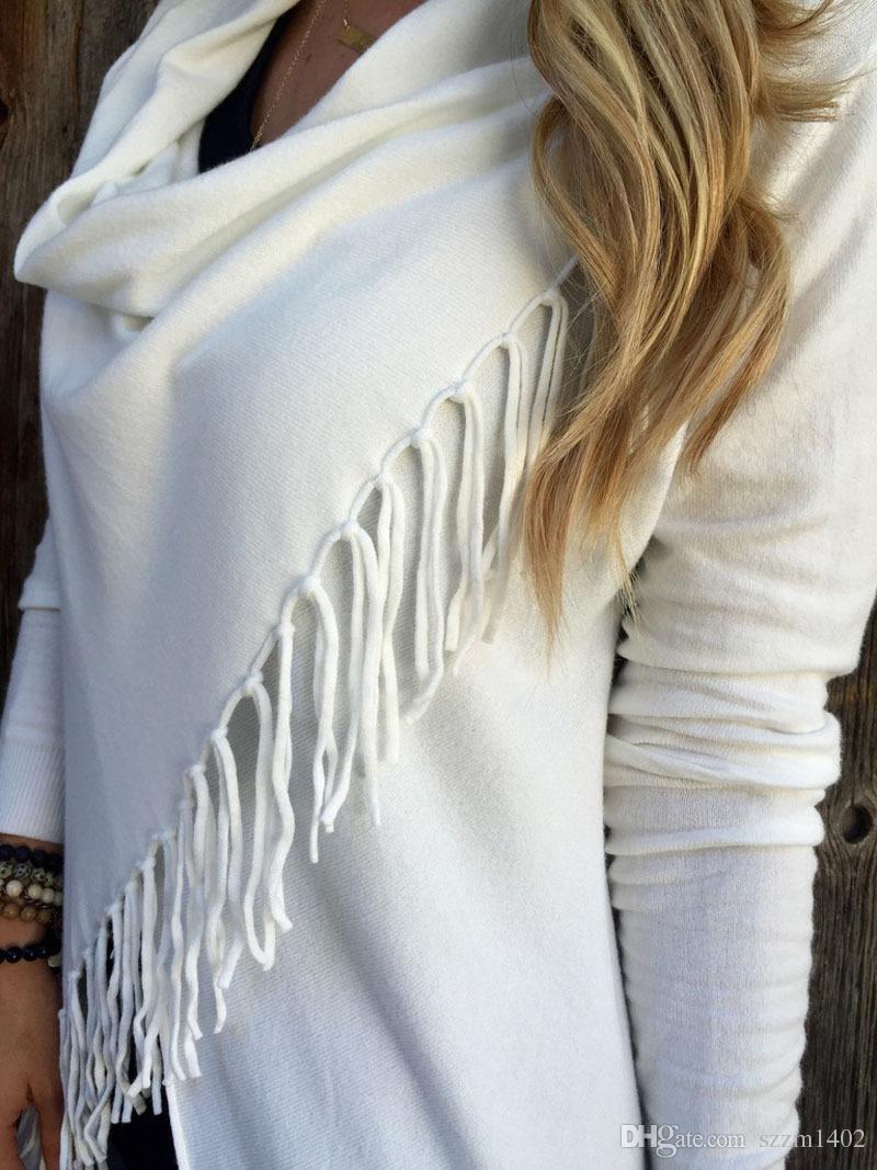 Suéteres de la borla de las mujeres del jersey ocasional de las muchachas chaqueta de manga larga de punto borla de la borla de la rebeca suéter flojo Outwear abrigo de invierno