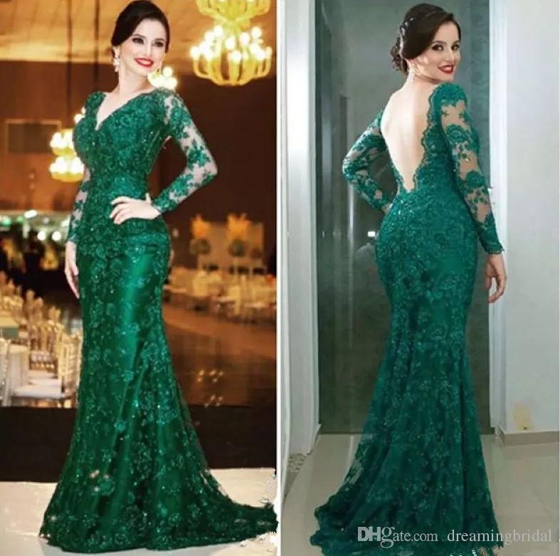 tGreen Backless Mutter der Brautkleider V-Ausschnitt Spitze Applique Long Sleeve Formal Abendkleider Brautkleid Custom Made Plus Size