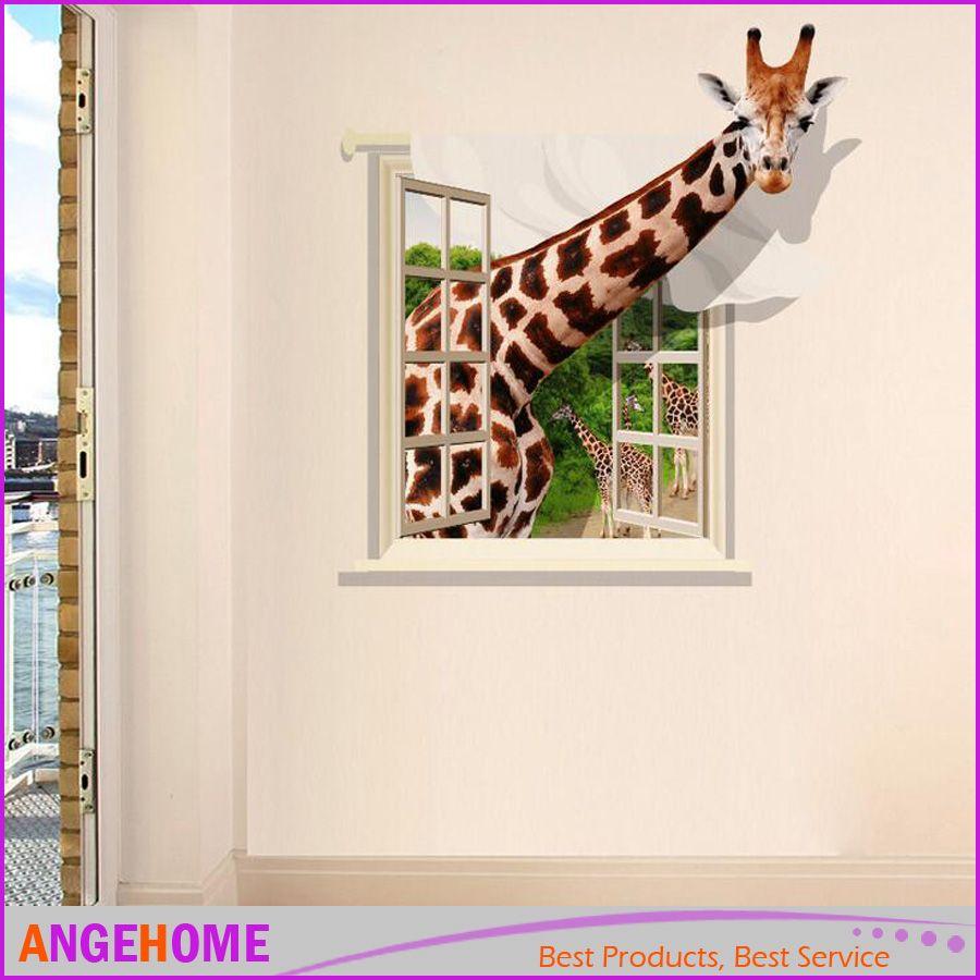 3d Giraffe Wall Stickers Decals, Living Room Kids Room Bedroom Home ...