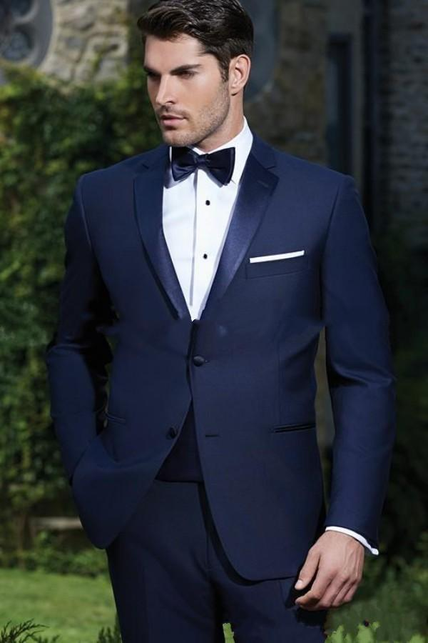 Custom Made Two Buttons Navy Blue Groom Tuxedos Notch Lapel Groomsmen Mens Wedding Dress Clothing Prom Suits handsome new design