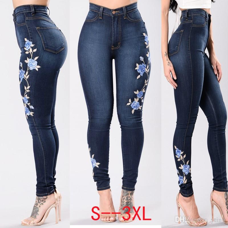 5841368a4a2 2017 European And American Style Women Big Hips Waist High Jeans Stretch  Jeans Pants with Blue Rose Embroidery Pencil Jeans Big Hips Stretch Jeans  Stretch ...