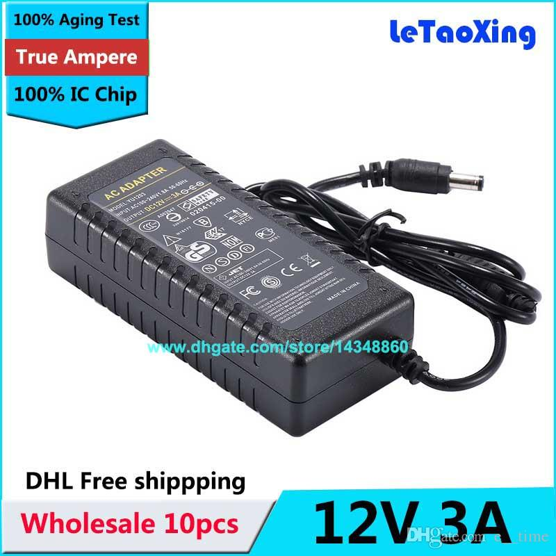 10pcs AC 100-240V Adaptor To DC 12V 3A 36W Power Adapter Supply For 5050  3528 LED Light LCD Monitor CCTV DHL Free shipping