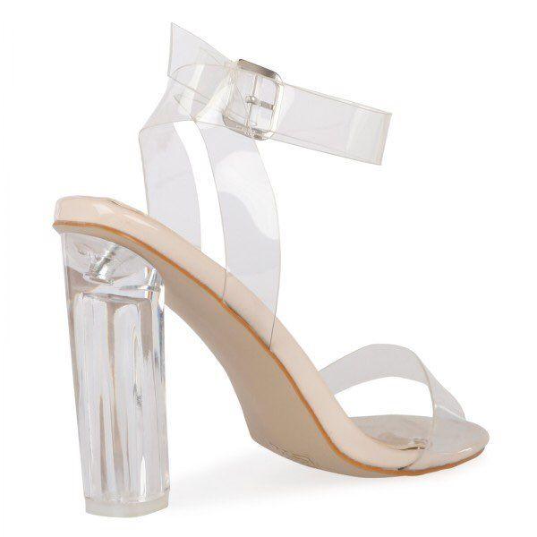 2016 Kim Kardashian PVC Gelin Düğün Ayakkabı Temizle Kare Topuklu Toka Askı Yaz Tarzı Bayanlar Parti Ayakkabı Artı Boyutu US4-US15 Custom Made