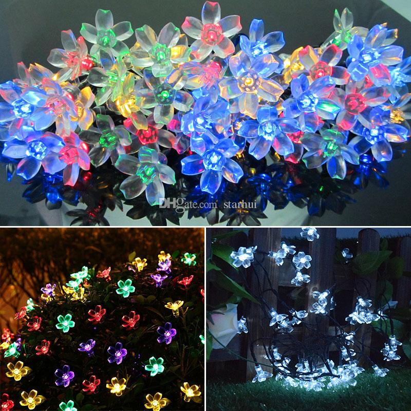 Sakura Christmas Party.Led Peach Sakura Solar Powered Light Halloween Christmas Decorations 50 Lights Home Outdoor Garden Patio Party Holiday Supplies Wx9 37