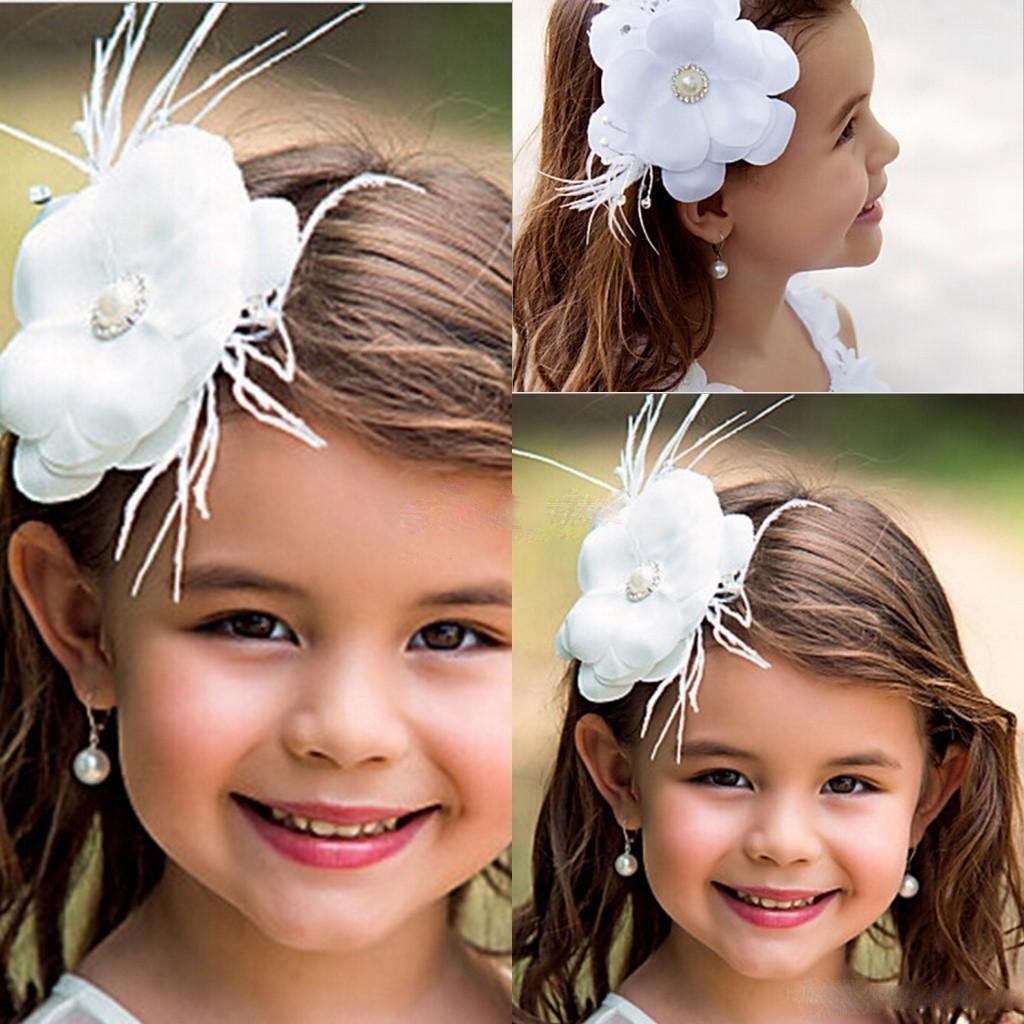 Lovely White Flower Girl Hair Accessories Children Tiaras Fashion