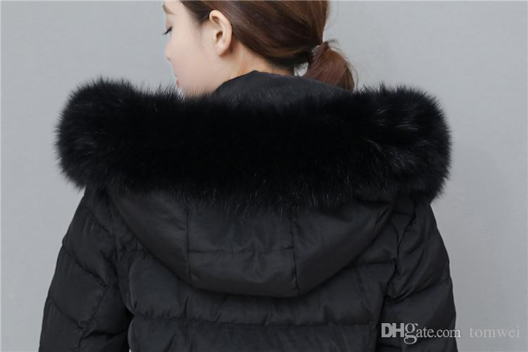 X Lungo Piumini Donna Inverno Cappotti Anatra Giù Parka Caldo di spessore Outwear Soprabito Vera pelliccia di volpe con cappuccio di alta qualità Vestiti di neve