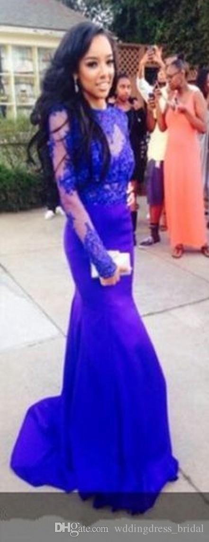 Royal Blue Lace Prom Kleider Schlank Eng mit Langen Ärmeln Abendkleider 2019 Sexy Backless Mermaid Formale Party Prom Kleider Günstige Lange Kleider