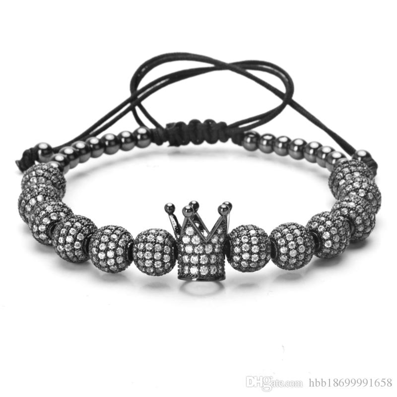 Men bileklik slivery Crown Charm Bracelets Jewelry DIY 4mm Round Beads Braided Bracelet Female pulseira Zircon