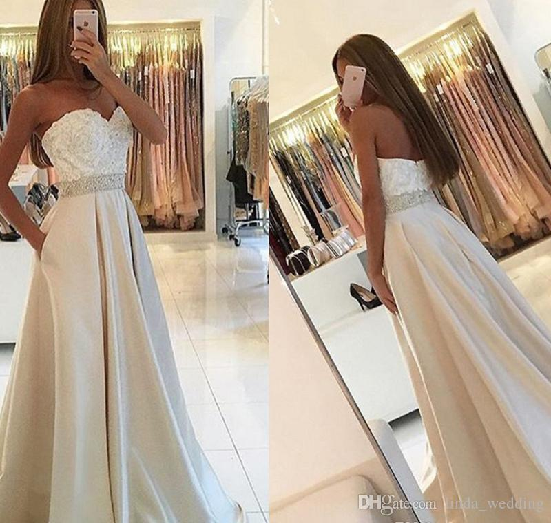 58b71b8dd4 2017 New With Pocket Prom Dress Sleeveless Lace Appliques Formal Holidays Wear  Graduation Evening Party Pageant Gown Custom Made Plus Size Prom Dress For  ...