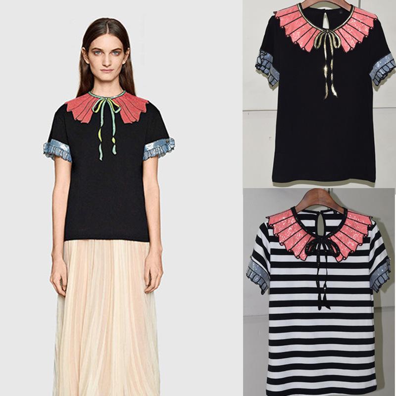 f3b4f15bef696 T Shirt Women 2016 Summer New Sequin Bow Embroidery Crystal Buckle Stripe  Ruffled Collar Short Petal Sleeve Black Stripe T Shirt Shirts Online T Shirt  ...