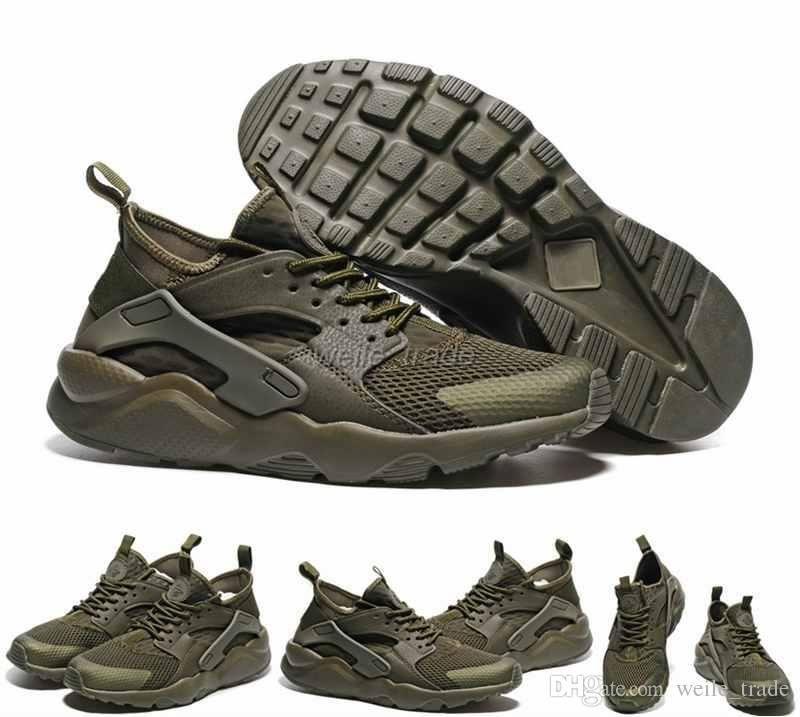huge discount c62d2 65ce6 Acheter 2016 Air Huarache IV Chaussures De Course Pour Hommes Femmes, Armée  Verte Baskets De Haute Qualité Triple Huaraches En Plein Air Athlétique  Sport ...