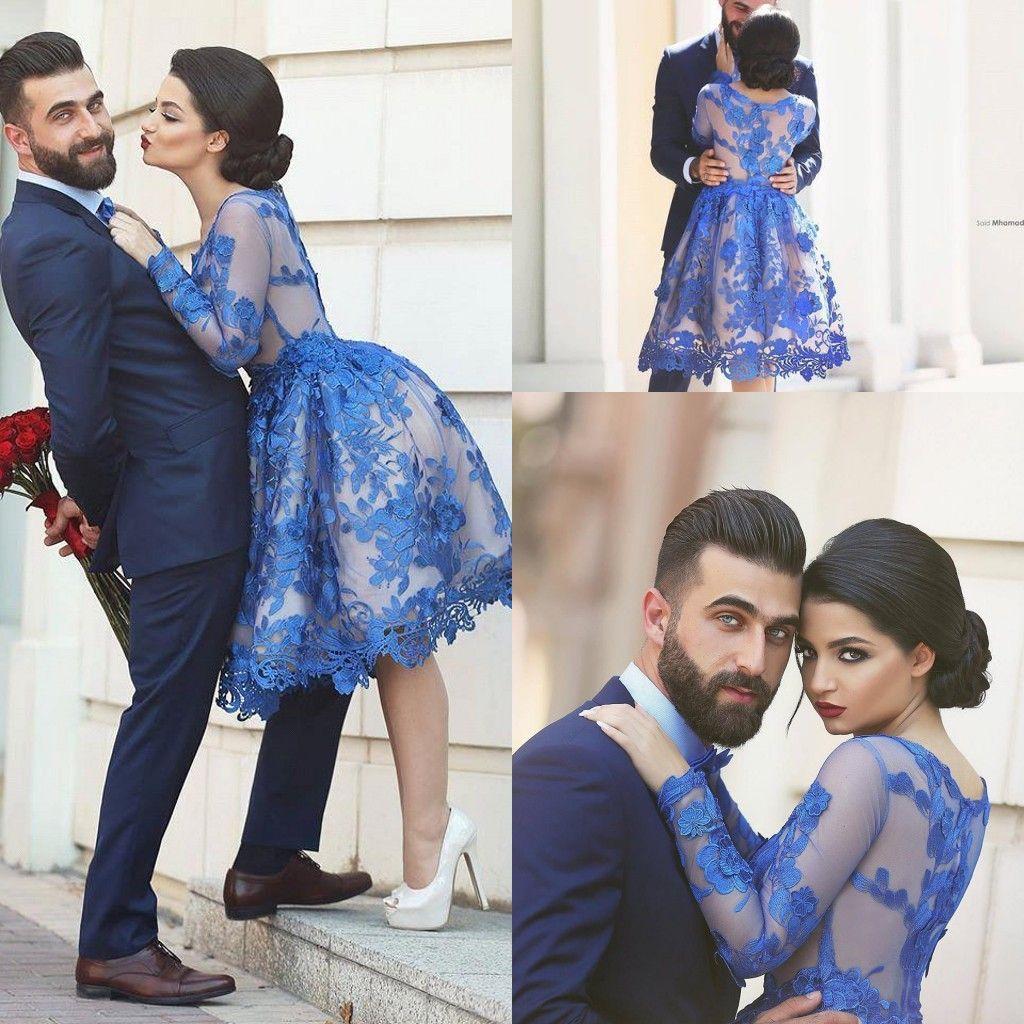 2016 nuevos vestidos de baile cortos árabes Sexy joya cuello mangas largas de encaje apliques florales longitud de la rodilla azul real vestido de fiesta Sheer vestidos de noche