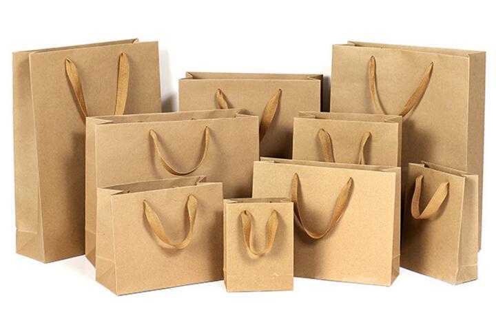 2016 10 크기 재고 및 사용자 정의 종이 선물 가방 갈색 크래프트 종이 가방 핸들 도매 ELB151
