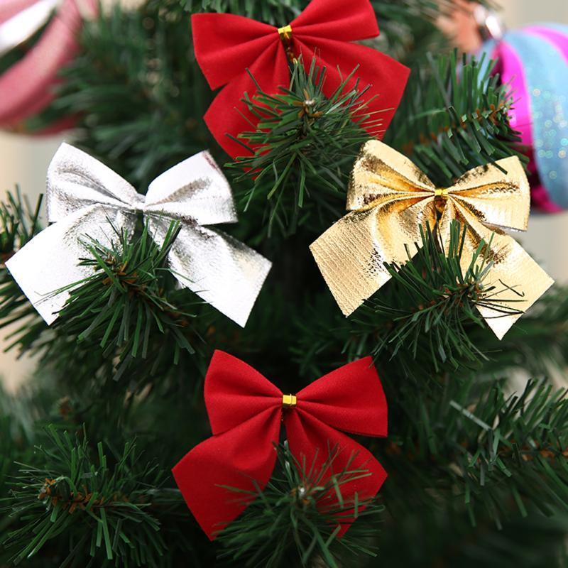 Compre 6 Cm Decoração Da árvore De Natal Bowknot Ouro Prata Cor