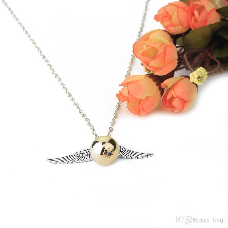 Wholesale Hip Hop Stainless Steel Jewelry Harry and Potter the Deathly Hallows Golden Snitch Quidditch Angel Wings Pendant Necklace 17111511