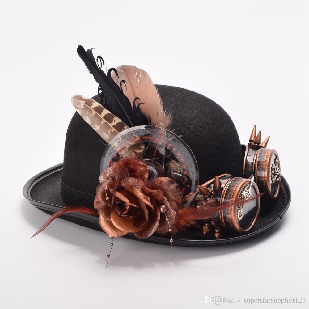 النساء / الرجال خمر قبعة الريش قبعة steampunk والعتاد نظارات الديكور القوطية قبعة سوداء قبعات الفيكتوري نمط جودة عالية