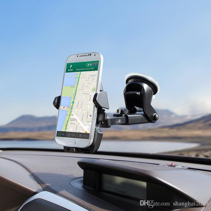 Evrensel Cep Araç Telefonu Tutucu 360 Derece Ayarlanabilir Pencere Cam Dashboard Tutucu Tüm Cep Telefonu GPS Sahipleri Için Standı