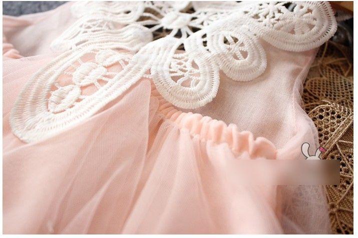 2016 Summer Girls Dress Sleeveless Beaded Dress Butterfly Lace Layered Chiffon Lovely Princess Kids Cloth Dress Pink K7444