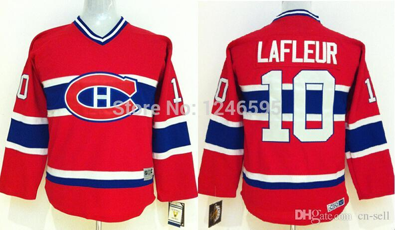 ... 2017 Kids Montreal Canadiens Hockey Jerseys Youth 10 Guy Lafleur Jersey  Home Red Throwback Vintage V ... f3a2c1e89