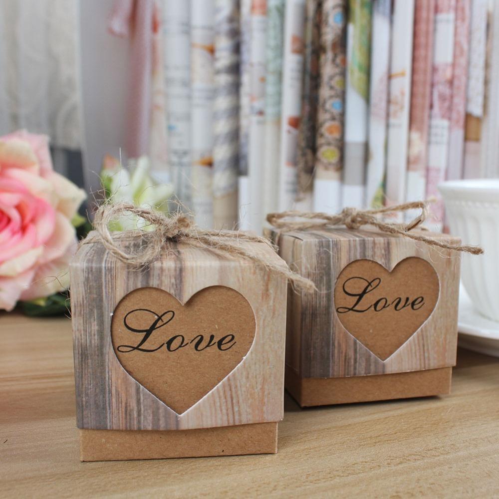 3000 Stücke Hochzeit Pralinenschachtel Romantische Herz Kraft Geschenk Tasche Mit Sackleinen Bindfäden Chic Hochzeit Gefälligkeiten Und Geschenken Box