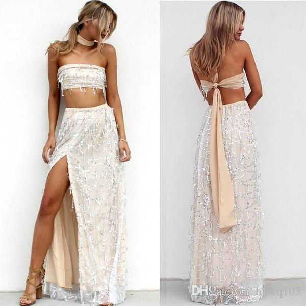 2019 2017 New Sequin Tassel Maxi Dresses Sexy Summer Evening Gown Dress  Strapless Split Formal Prom Dresses Wedding Party Dress LJ1562 From  Hhwq105 468809d4b92a