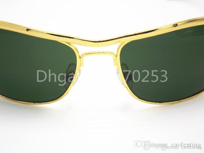High Quality Classic Sunglasses Designer Brand Mens Womens Sun Glasses Eyewear 62mm Black Metal Frame Green Glass Lenses Brown box