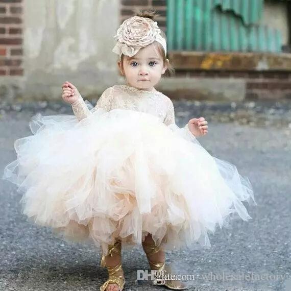 Adorável bebê infantil criança baptismo roupas flor menina vestidos com mangas compridas rendas tutu vestidos de festa