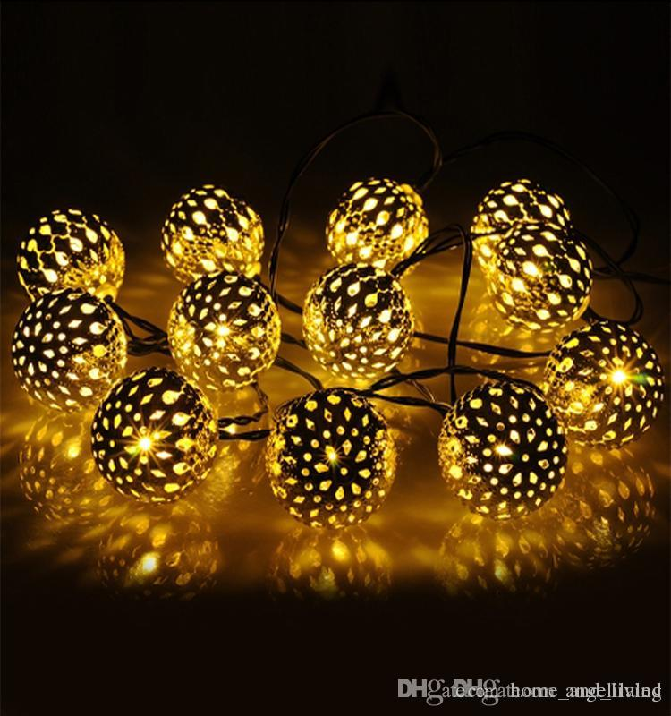 Cheap New Morocco Ball Solar Led Strings Outdoor Holiday Lighting Led Christmas Lights Garden Lights Wholesale Led Battery Operated Lights Lantern String