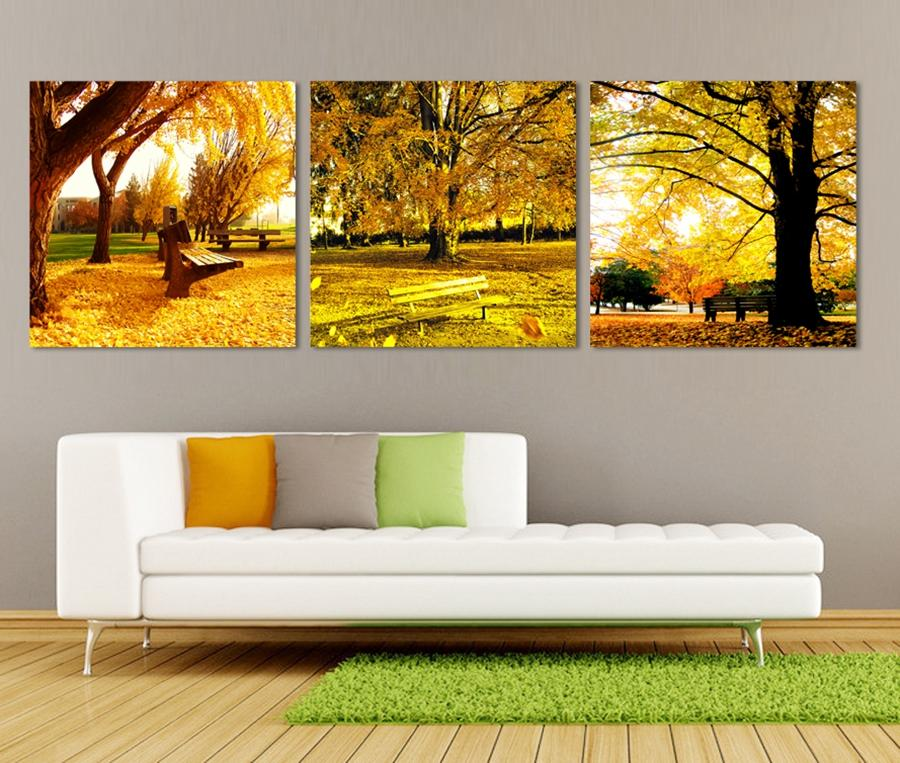 Free shipping 3 Pieces unframed Home decoration Canvas Prints Yellow leaves chinese characters chopsticks tree autumn chair fish flower