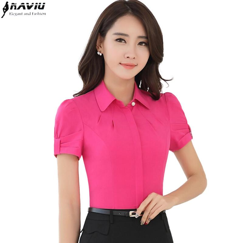 633c333bec95bb 2019 2016 Summer Fashion Women Slim Short Sleeve Shirt OL Career  Temperament Solid Color Chiffon Blouse Office Ladies Plus Size Top From  Erindolly360b