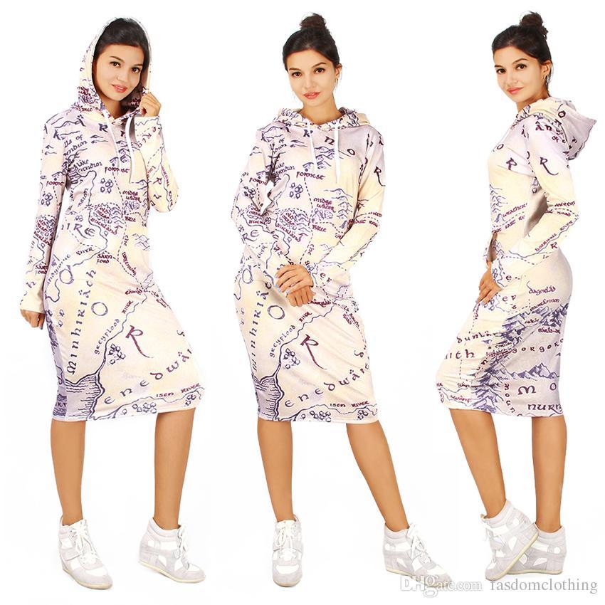 outlet store edc7f 05bb4 3D Wasser Druck mit Kapuze Kleider Damen Sublimationsdruck Langarm Winter  Hoody Kleid Damen Druck Pullover Hoodie Kleider mit Taschen