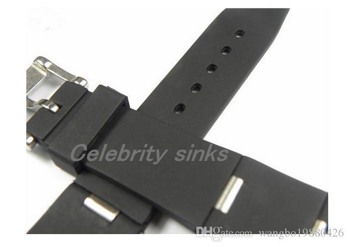 24mm x 8mm İzle pabucu YENİ MEN Yüksek Kalite Siyah Dalış Silikon Kauçuk Watchband BANTLARI sapanlar