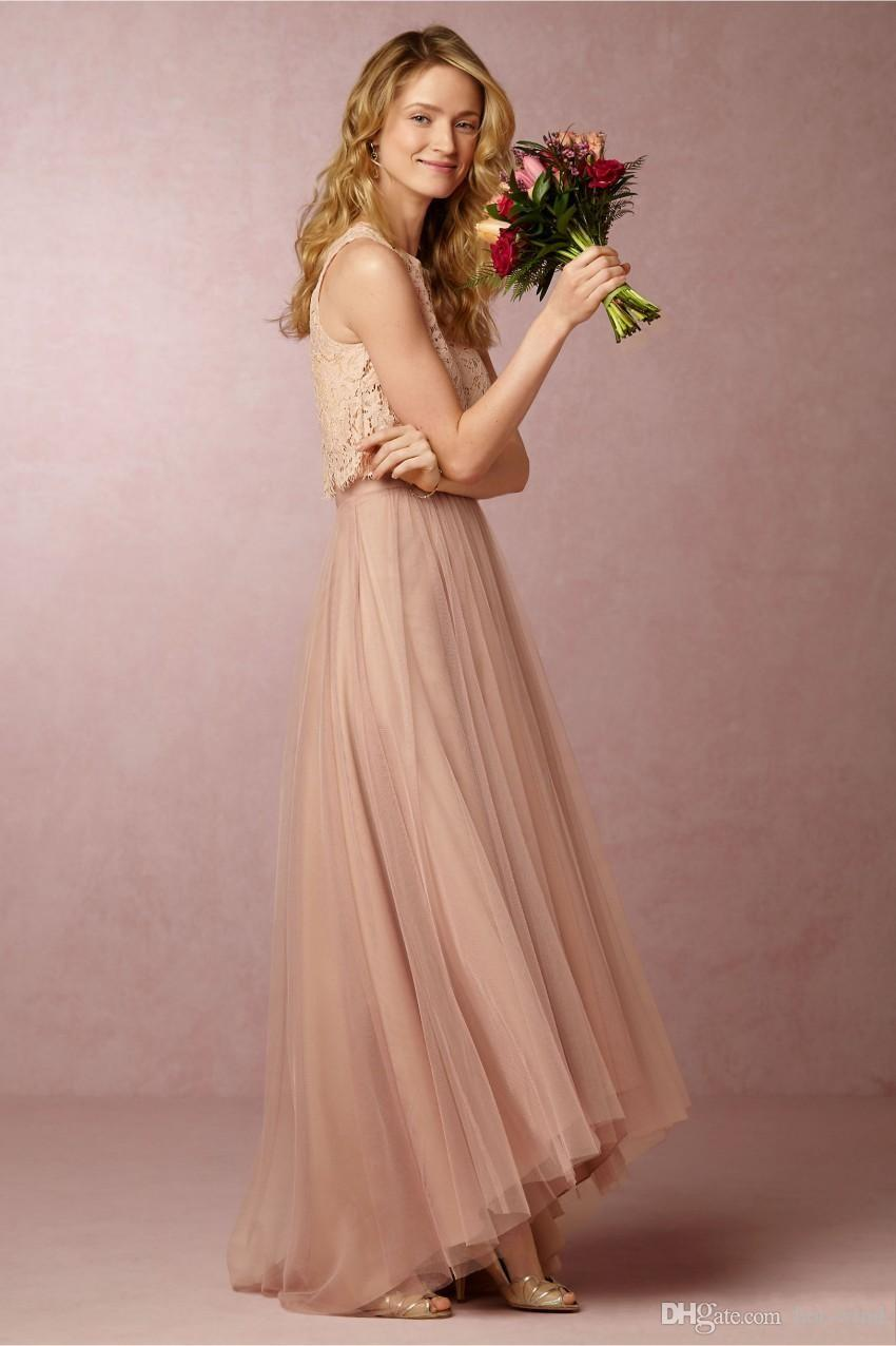 2020 Vintage Blush Pink Two Pieces Bridesmaid Dresses Lace Crop High Low Beach Bridesmaid Dresses Wedding Party Gowns Custom Gjorda