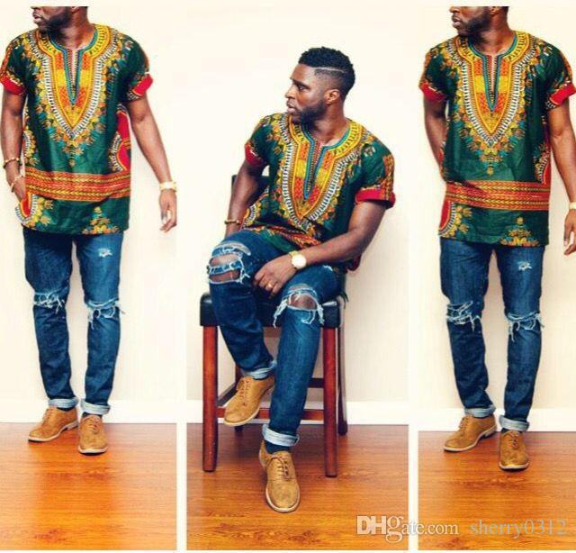 Großhandel 2017New Hipster Männer Afrikanische Mode Design Traditionellen  Druck Dashiki T Shirt Kleid Mexikanischen Bazin Riche Bazin Afrikanische  Kleidung ... 21ba10e282