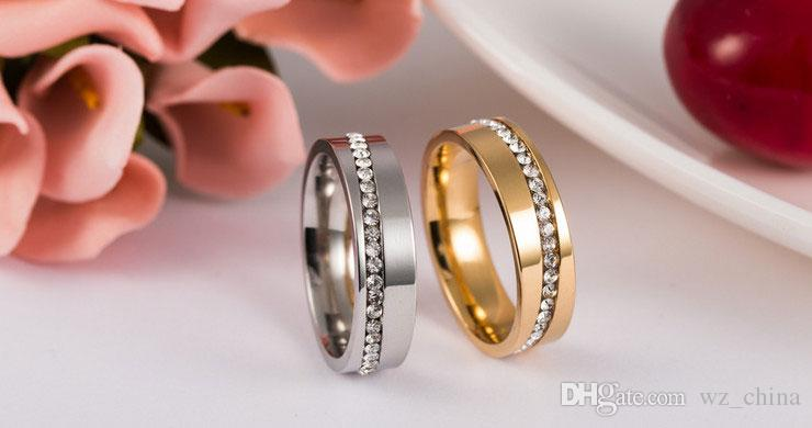 New Women Charm 316L Stainless Steel Couple Rings For Ladies Men Austrian Crystal Rings Femme Jewelry