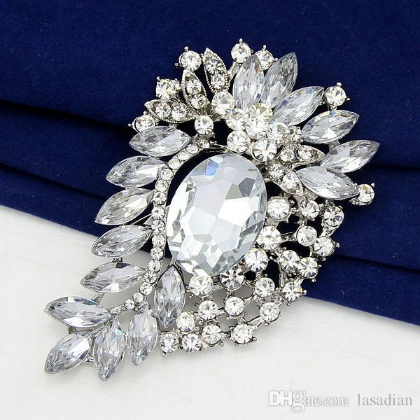 2017 374 Clear Glass Wedding Bouquet Brooch Vintage Style From Lasadian 1623