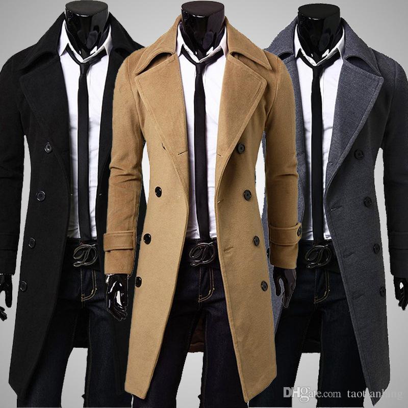 2018 Plus Size Men Trench Coat Winter Mens Long Pea Coat Men Wool ...