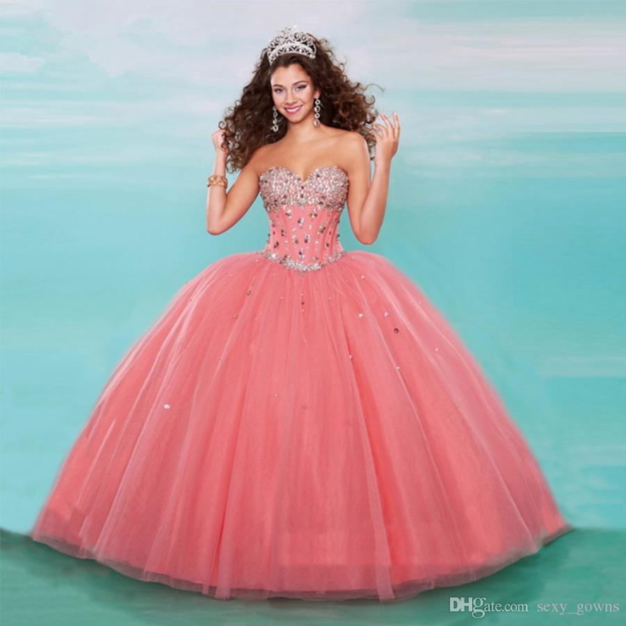 Watermelon Red Ball Gowns Princess Formal Masquerade Party ...