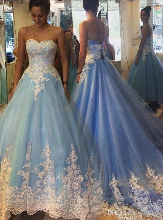 로맨틱 블루 공 가운 웨딩 드레스 섹시한 연인 레이스 웨딩 드레스 신부 가운 겸손 Vestidos de Novia 고딕 2015- 웨딩 드레스