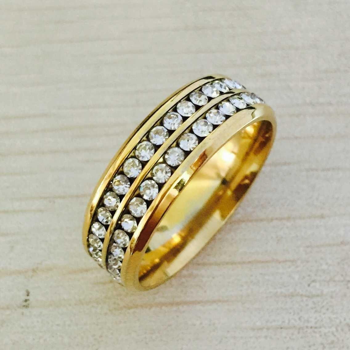 Luxo 18 K banhado a ouro 2 fileira CZ diamante anéis Top Clássico Design amantes da Banda de Casamento Anel para Mulheres e Homens por atacado