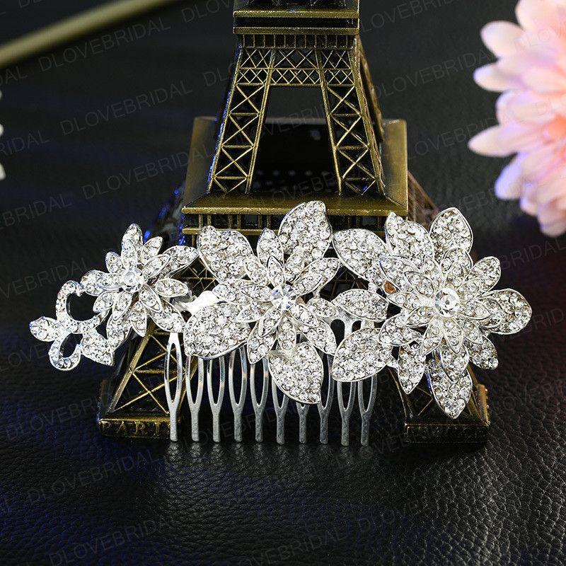 Romantic Bridal Hair Comb Shinny Fairy Handmade Crystal Rhinestone Floral Wedding Prom Evening Party Hair Flower Headpiece Jewelry Accessory