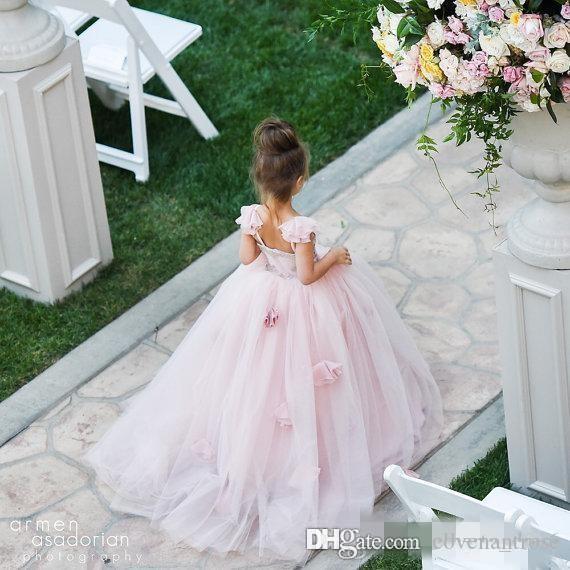 Blush Pink Flower Girls Vestidos Apliques Correas Spaghetti Vestido de fiesta Volantes Tul Niños Pageant vestido de comunión