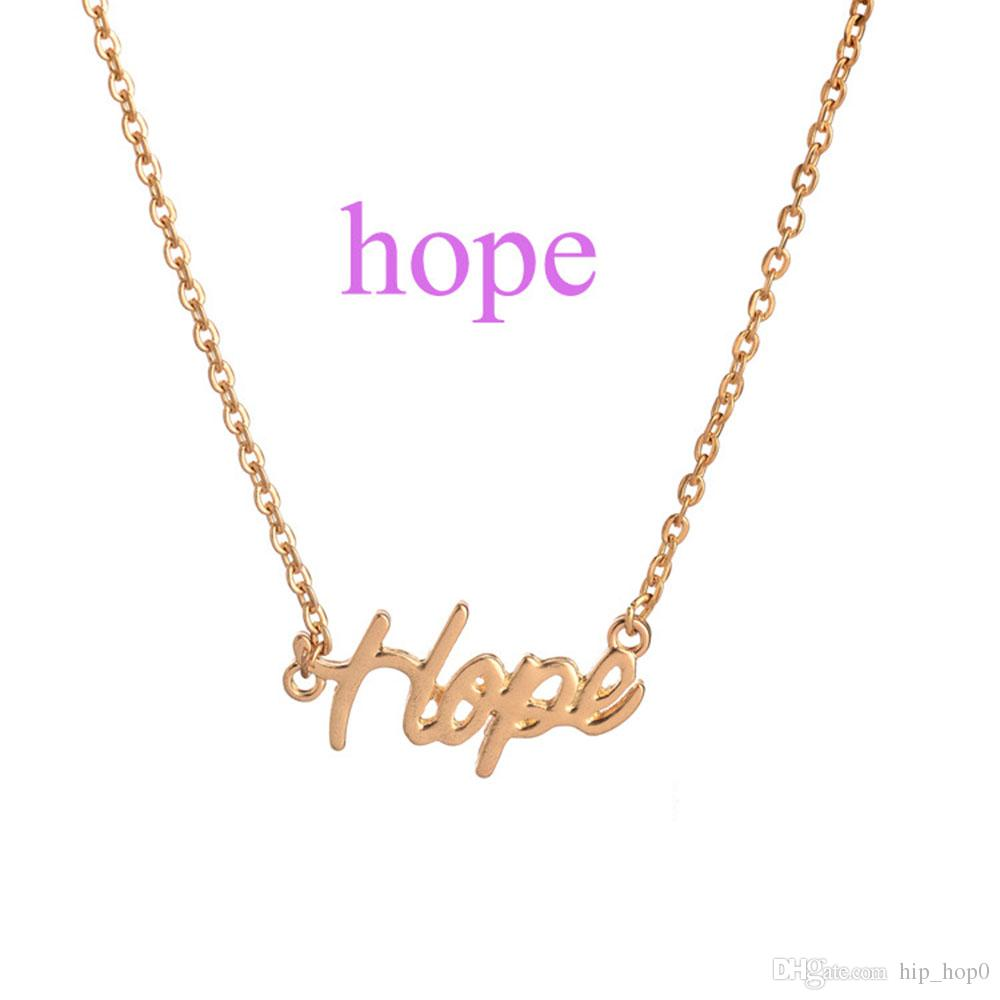 Wholesale hope the letter pendant necklace silver gold plated love we have many style letter choker necklace if you needs difference style please note to us joy laugh love lucky peace precious unique xoxo mozeypictures Choice Image